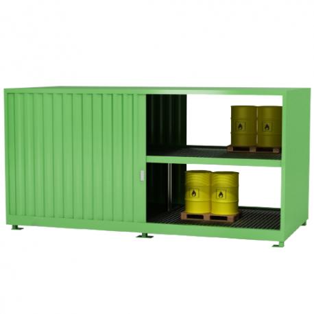 Zweistufiger Container zur Lagerung von IBC-Behälter – isoliert, mit Schiebetoren, beidseitig bedienbar